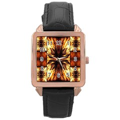 Background Pattern Rose Gold Leather Watch  by Nexatart