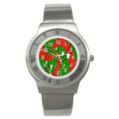 Background Abstract Christmas Stainless Steel Watch