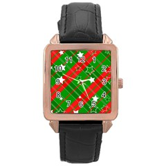 Background Abstract Christmas Rose Gold Leather Watch  by Nexatart
