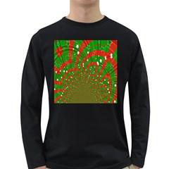 Background Abstract Christmas Pattern Long Sleeve Dark T Shirts