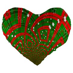 Background Abstract Christmas Pattern Large 19  Premium Flano Heart Shape Cushions by Nexatart