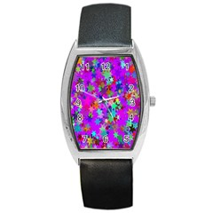 Background Celebration Christmas Barrel Style Metal Watch