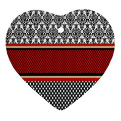 Background Damask Red Black Heart Ornament (two Sides) by Nexatart