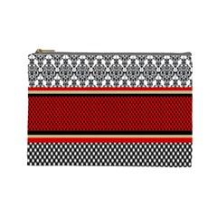 Background Damask Red Black Cosmetic Bag (large)  by Nexatart