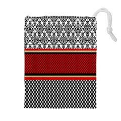 Background Damask Red Black Drawstring Pouches (extra Large) by Nexatart