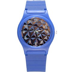 Background Geometric Shapes Round Plastic Sport Watch (s) by Nexatart