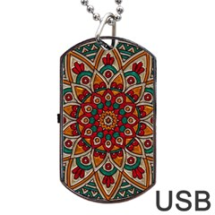 Background Metallizer Pattern Art Dog Tag Usb Flash (two Sides)