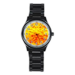 Background Image Abstract Design Stainless Steel Round Watch