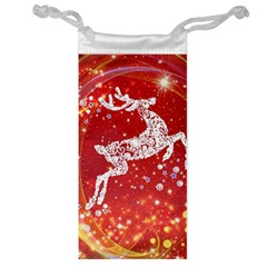 Background Reindeer Christmas Jewelry Bag by Nexatart