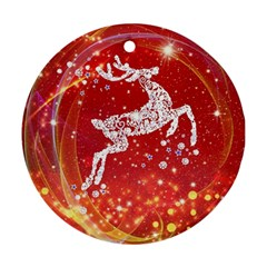 Background Reindeer Christmas Round Ornament (two Sides)