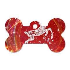 Background Reindeer Christmas Dog Tag Bone (two Sides)