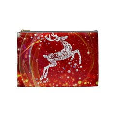 Background Reindeer Christmas Cosmetic Bag (medium)