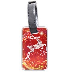 Background Reindeer Christmas Luggage Tags (one Side)  by Nexatart