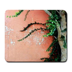 Background Stone Wall Pink Tree Large Mousepads
