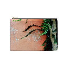 Background Stone Wall Pink Tree Cosmetic Bag (medium)