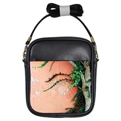 Background Stone Wall Pink Tree Girls Sling Bags