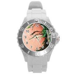 Background Stone Wall Pink Tree Round Plastic Sport Watch (l) by Nexatart