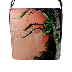 Background Stone Wall Pink Tree Flap Messenger Bag (l)
