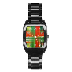 Background Texture Structure Green Stainless Steel Barrel Watch by Nexatart