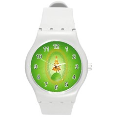 Beautiful Christmas Tree Design Round Plastic Sport Watch (m)