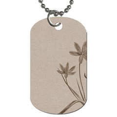 Background Vintage Drawing Sepia Dog Tag (one Side)