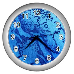 Background Tissu Fleur Bleu Wall Clocks (silver)  by Nexatart