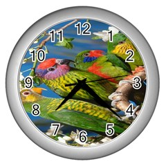 Beautifull Parrots Bird Wall Clocks (silver)  by Nexatart