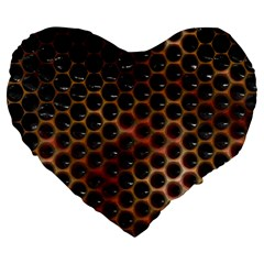 Beehive Pattern Large 19  Premium Flano Heart Shape Cushions by Nexatart