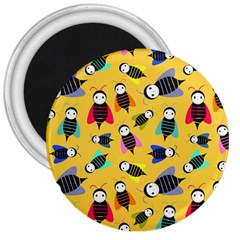 Bees Animal Pattern 3  Magnets by Nexatart