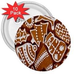 Biscuit Brown Christmas Cookie 3  Buttons (10 Pack)  by Nexatart