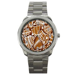 Biscuit Brown Christmas Cookie Sport Metal Watch by Nexatart