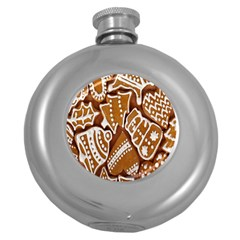 Biscuit Brown Christmas Cookie Round Hip Flask (5 Oz)