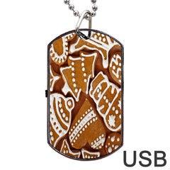 Biscuit Brown Christmas Cookie Dog Tag Usb Flash (one Side)