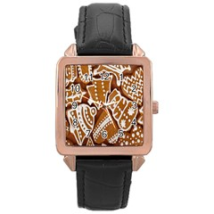 Biscuit Brown Christmas Cookie Rose Gold Leather Watch  by Nexatart
