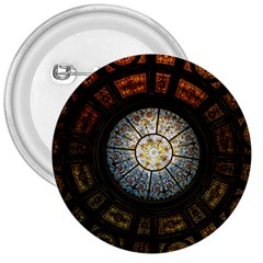 Black And Borwn Stained Glass Dome Roof 3  Buttons by Nexatart