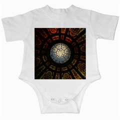 Black And Borwn Stained Glass Dome Roof Infant Creepers by Nexatart