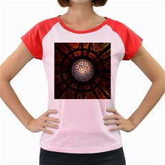Black And Borwn Stained Glass Dome Roof Women s Cap Sleeve T Shirt by Nexatart