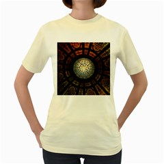 Black And Borwn Stained Glass Dome Roof Women s Yellow T Shirt by Nexatart
