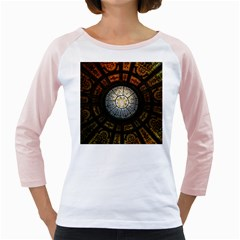 Black And Borwn Stained Glass Dome Roof Girly Raglans by Nexatart