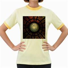 Black And Borwn Stained Glass Dome Roof Women s Fitted Ringer T Shirts by Nexatart