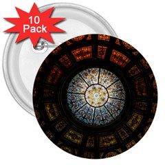 Black And Borwn Stained Glass Dome Roof 3  Buttons (10 Pack)  by Nexatart