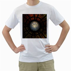 Black And Borwn Stained Glass Dome Roof Men s T Shirt (white) (two Sided) by Nexatart