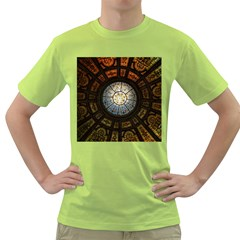 Black And Borwn Stained Glass Dome Roof Green T Shirt by Nexatart