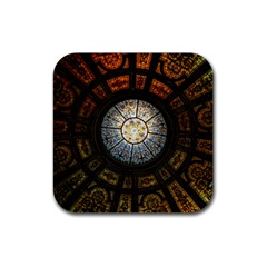 Black And Borwn Stained Glass Dome Roof Rubber Coaster (square)  by Nexatart