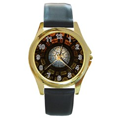 Black And Borwn Stained Glass Dome Roof Round Gold Metal Watch by Nexatart