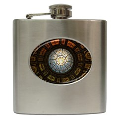 Black And Borwn Stained Glass Dome Roof Hip Flask (6 Oz) by Nexatart