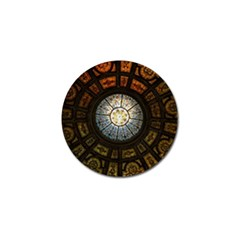 Black And Borwn Stained Glass Dome Roof Golf Ball Marker (4 Pack) by Nexatart