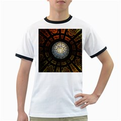 Black And Borwn Stained Glass Dome Roof Ringer T Shirts by Nexatart