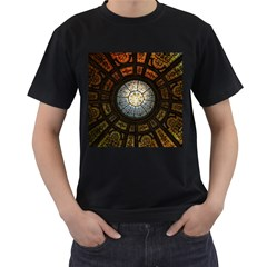 Black And Borwn Stained Glass Dome Roof Men s T Shirt (black) (two Sided) by Nexatart