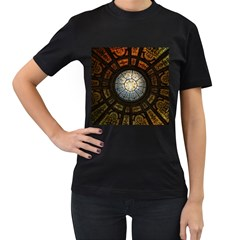 Black And Borwn Stained Glass Dome Roof Women s T Shirt (black) (two Sided) by Nexatart